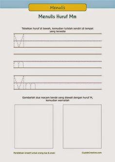 latihan menulis PAUD (balita/TK), pasangan huruf besar dan huruf kecil, menggambar A sampai Z