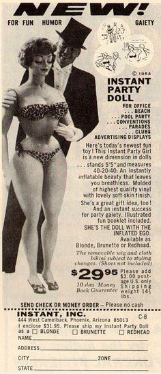 An instant inflatable party doll including a fun booklet and all for $29.95 I wonder how many actually bought one.  #vintage #advert http://ift.tt/2cW7N0l
