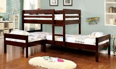Shop Furniture of America Ranford Espresso Twin Triple Bunk Bed with great price, The Classy Home Furniture has the best selection of Bunk Beds to choose from Corner Bunk Beds, Bunk Bed Sets, Bunk Bed With Trundle, Twin Bunk Beds, Kids Bunk Beds, Loft Beds, Custom Bunk Beds, Modern Bunk Beds, Cool Bunk Beds