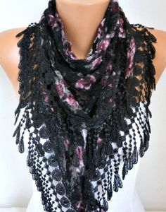 Black Tulle Velvet Floral Scarf Shawl Cowl Lace #blackfriday #christmas  #scarf