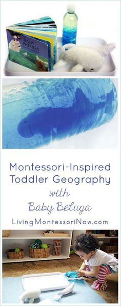 Fun Montessori-inspired activities to help give toddlers a love of geography. Focuses on Raffi's Baby Beluga song and an ocean sensory bottle containing beluga whale replicas (part of the 12 Months of Montessori Learning Series)