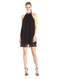 Eliza J Women's Beaded Halter Neck Dress * You can find out more details at the link of the image.
