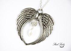 Angyali nyakék ezüstben - angyal medál shamballa gyönggyel (Steellady) - Meska.hu