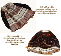 "Antique doll costume plaid taffeta and brown velvet 15"""