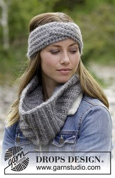 Wrap Around - Set consists of: Knitted head band and neck warmer with English rib. Size S/M – L/XL. Piece is knitted in 2 strands DROPS Air. - Free pattern by DROPS Design Knit Cowl, Knit Mittens, Knit Crochet, Crochet Hats, Drops Design, Knitted Headband, Knitted Hats, Headband Pattern, Knitting Patterns Free
