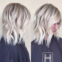 Frosty blonde babe ❄️ #babylights #hairpainting #blondehair #bob #beachwaves…