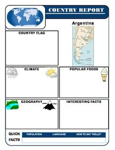 Country Report Template Set:  You will not find an easier way to have students research and present about counties!   This Country Report Templates Set will integrate geography, social studies, and common core research.The Country Reports Template Set includes 127ready made and attractive  report templates.