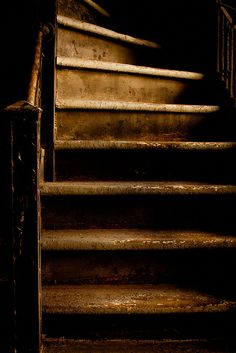 Brown:  Steep #brown staircase.