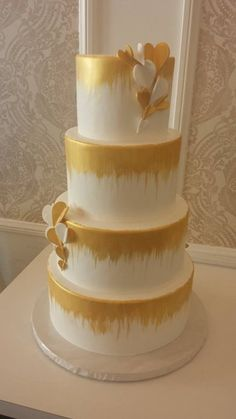 Gold Drips with heart butterflies Wedding Cake  ~ All edible