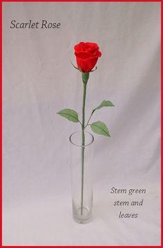 Long stem paper rose
