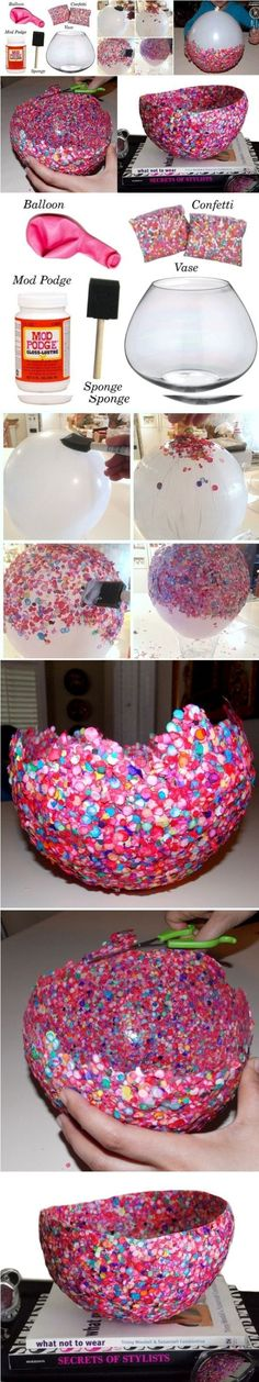 recipiente de confetti o papel picado de colores manualidades para niños - arte infantil