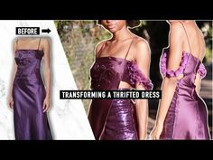 OLD THRIFTED DRESS INTO DIY PARTY DRESS | REFASHION - YouTube Diy Party Dress, Diy Dress, Strapless Dress, Prom Dresses, Formal Dresses, Diy Fashion Videos, Cute Diys, Refashion, Thrifting