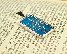 Treble Clef  Pendant - Blue Sky - Stained Glass - lead free solder. $15.00, via Etsy.