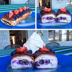 #MacroFriendly Chocolate Covered Berry Cheesecake Protein Rollup!  After making a blueberry cheesecake and strawberry cheesecake rollup the last two days, I thought it would only be fitting to make one with them together with a cheesecake filling and this time topped with a chocolate frosting and fresh blueberries and strawberries! With the fat free whipped cream of course!  Macros: 331 cals, 41g carbs, 6g fat, 40g protein  Perfect pre mountain climbing fuel with the family! We will s ...