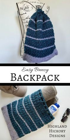 Crochet this unisex string backpack with this beginner friendly free pattern. The Easy Breezy Backpack is just as the name implies, easy breezy! Constructed of two simple rectangles that are stitched together, this project works up in a snap and is perfect for anyone! #crochet #crochetbackpack #backpack #stringbag #diy