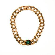 Ciner Statement Necklace, Faux Green Jade and Gold Chain Link, Faux Jade Center, Designer Vintage Jewelry