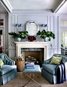 Beautiful blue and gray living room, and detail molding.