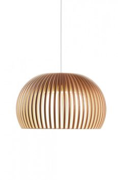 The Secto Atto pendant lamp creates a great atmosphere. The light is radiated into the room through the wooden slats of a dome-shaped lamp shade. The lamp is made of wood with simple, clean lines that are typical of Scandinavian design. Modern Pendant Light, Pendant Lighting, Pendant Lamps, Room Lights, Hanging Lights, Ceiling Lamp, Ceiling Lights, Berlin Design, Dining Room Light Fixtures