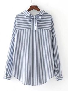 Shop Bow Tie Back Vertical Striped Blouse online. SheIn offers Bow Tie Back Vertical Striped Blouse & more to fit your fashionable needs. Kurta Designs, Blouse Designs, Modest Dresses, Simple Dresses, Hijab Stile, Hijab Fashion, Fashion Outfits, Mode Hijab, Blouses For Women
