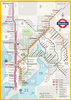 Unofficial Map: Suburban Rail Network of Mumbai, India Designed by two students – Jaikishan and Snehal – at Mumbai's Industrial Design Centre under the supervision of Associate Professor Mandar Rane. While it looks like quite a traditional transit. Mumbai Map, Mumbai City, Metro Subway, Subway Map, Local Train Map, Transport Map, Public Transport, World Map Picture, Hindu Wedding Cards