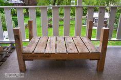 Pallet wood patio chair build - part 2 - Funky Junk Interiors Diy Pallet Sofa, Pallet Patio, Wood Pallet Furniture, Diy Patio, Wood Pallets, Pallet Wood, Pallet Bench, Wood Patio Chairs, Sectional Patio Furniture