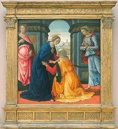 Het bezoek van Maria aan Elizabeth ~ 1491 ~ Tempera op hout ~ 172 x 167 cm. ~ Musée du Louvre, Parijs