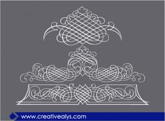 Calligraphic ornaments with white lines Free Vector