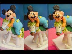 Tutorial Mickey Mouse Baby topolino pasta di zucchero cake topper fondant - YouTube