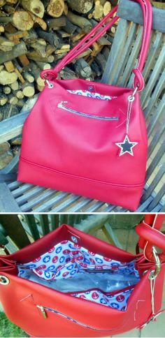Ewa mit Sternen aus rotem Kunstleder- genäht von Birgt im September 2016 September, Artificial Leather, Red, Bags