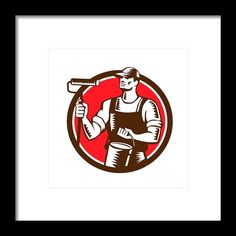 House Painter Holding Paint Roller Circle Woodcut Framed Print By Aloysius Patrimonio. Illustration of a house painter holding paint roller and paint can looking to the side set inside circle on isolated background done in retro woodcut style. #Illustration #HousePainter