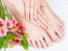 Closeup photo of a female feet at spa salon on pedicure and manicure procedure - Soft focus image poster #poster, #printmeposter, #mousepad