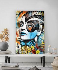 Tableau portrait pop art spirale punk Pop Art by Lowrens - Tableau Deco Pop Punk, Portraits Pop Art, Tableau Pop Art, Reproduction, Les Oeuvres, Painting, Visionary Art, Faces, How To Paint