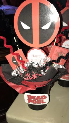 Deadpool centerpieces Birthday Decorations, Birthday Ideas, Deadpool, Geek Party, Minion Party, Ideas Para Fiestas, Minions, Centerpieces, Geek Stuff