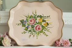vintage pink tole tray
