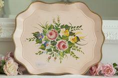 vintage pink tole tray