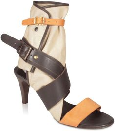 961230bcb Chloe Women s Designer Shoes Amber and Brown Leather and Canvas Cut-Out  Sandals Material  Canvas LeatherColor  Camel Brown BeigeHardware   Brass Antique ...