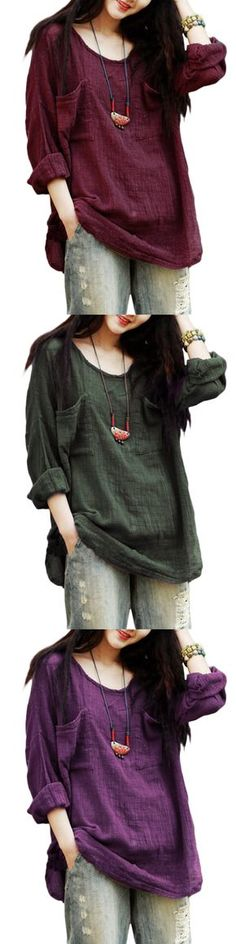 US$13.97Gracila Vintage Pure Color Long Sleeve Pockets Loose Women Shirts