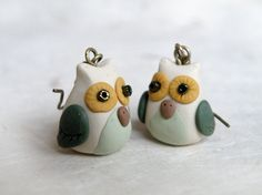 Autumn Forest Owl earrings, made from Polymer clay.