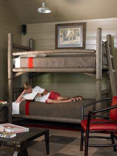 loft's bunk beds. the coffee table used to be a railroad cart
