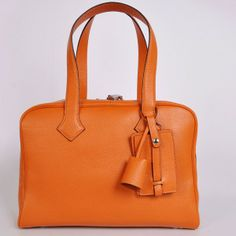 b9ddb50e7ffa Hermes bags and Hermes handbags Hermes clemence leather Victoria Bag in  Orange with Silver hardware 262
