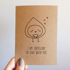 Funny Tortellini Pun Card & Quirky Cute Love by SubstellarStudio Love Valentines, Valentine Day Cards, Cheesy Valentine Cards, Tortellini, Food Puns, Cooking Puns, Cute Puns, Pun Card, Love Cards