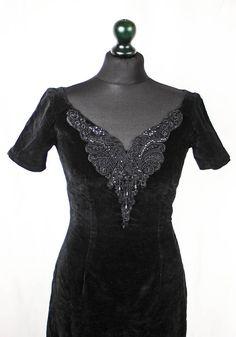 e8821237d2d Vintage Black Velvet Dress Embroidered Glam Evening Dress Glamour Coctail  Dress Classic Goth Gothic Monsoon Twilight Goth Dress