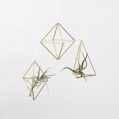 Brass Himmeli Ornaments | Air Plant Hanger | Geometric Hanging Mobile | Minimalist Home Decor | Set of 3
