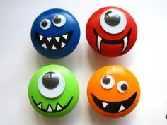 Adorable monster knobs for a child's dresser.  i think these would be cute anywhere - you can;t go wrong with googly eyes