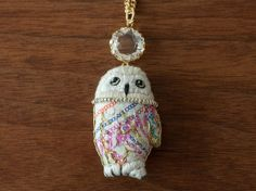 Snowy Owl necklace  Pink by FGMstore on Etsy, $27.00