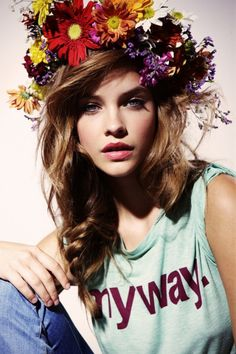 Barbra Palvin goes slightly bohemian with a floral crown and fishtail braid in this editorial. Photo Credit
