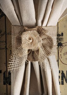 Burlap Jute Rose Curtain Tie Back Home Decor by RefunkedJunkies