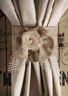 Burlap Jute Rose Curtain Tie Back Home Decor by RefunkedJunkies, $28.00