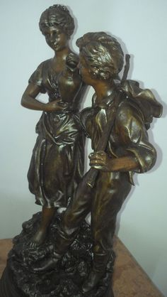 antique french statue sculpture 19th gilt PATINA BRONZE PARIS made in France art