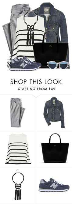 """""""Untitled #5805"""" by doradabrowska ❤ liked on Polyvore featuring Lands' End, Current/Elliott, Cardigan, Lacoste, Bebe, New Balance and Christian Dior"""